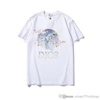 impressão em flor de ameixa venda por atacado-2019 moda verão t camisas para homens mens designer t shirts ameixa flor dinossauro imprimir marca tops homens mulheres roupas