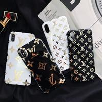 iphone leder gebrandmarkt großhandel-Luxus leder phone cases für iphone x xs max xr 6 7 8 plus case fashion brand weiche designer phone cases abdeckung