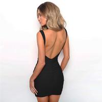 elbise eteğinde kayma toptan satış-Kadın Giyim Kolsuz seksi Backless Elbise Katı Renk Dantelli Kalça Wrap Elbiseler Kayma Elbise Parti Mini Elbise Etekler Moda Bırak gemi