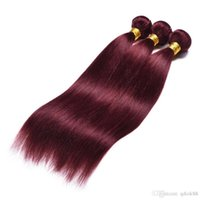 Wholesale synthetic mixed human hair for sale - Group buy 99j Burgundy straight A A A virgin human hair bundle without any synthetic or animal hair mixed