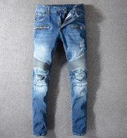 ingrosso jeans 25-Mens Distressed Strappato Biker Jeans slim fit Motociclista Denim Per SexyXXL Designer Moda UomoBalmain Jeans Uomo di buona qualità