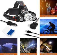 şarj edilebilir araba kafa ışığı toptan satış-Şarj edilebilir Far 8000Lm XM-T6 3led Ön Far far Balıkçılık Lambası Av Fener + 2x 18650 pil + Araç / AC / USB Şarj