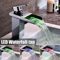 ingrosso colore del cambio del rubinetto del bagno-Miscelatore monocomando per lavabo a cascata con rubinetto cromato lucido