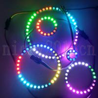 halo rgb venda por atacado-5 V WS2812B IC LED Painel de Pixel Painel Halo Módulo de Luz 5050 RGB Branco PCB Individual Endereçável Círculo Cor Magia Perseguindo