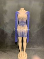 Wholesale dj ds women costume for sale - Fashion Blue Long Sleeves Perspective Mesh Dress Women Celebrate See Through Dress Sexy Skinny Costume Dance Short Dress DS DJ Outfit