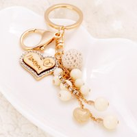 Wholesale key rings for beads for sale - Group buy Heart Love Key Rings Jewelry Rhinestone Keychains Chain Fashion Bead Ball Pendant Bag Charm Metal Car Keyring Holder Gifts for Lovers Couple