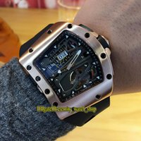 ingrosso orologi di scheletro di grandi dimensioni-RM70-01 Alain Prost scheletro quadrante grande data tourbillon automatico RM 70-01 orologio da uomo cassa in oro rosa cinturino in gomma da corsa orologi da bicicletta