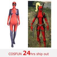 deadpool costume toptan satış-Kadın Deadpool kılıç mücadele sürüm Deadpool cosplay Kostüm Wade Wilson Kostüm Cadılar Bayramı Için Kırmızı Cosplay Tulum