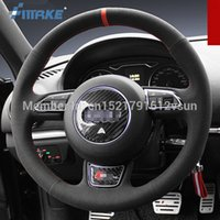 For Audi A3 High Quality Hand-stitched Anti-Slip Black Suede Red Thread DIY Steering Wheel Cover