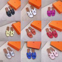 kadın yaz yastık sandaletler toptan satış-Üst deri Kadın Tasarımcı Sandalet lüks terlik kutusu ile Toz Torbası Tasarımcı Ayakkabı Lüks Slayt Yaz Geniş Düz Sandalet Terlik