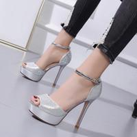zapatos de boda de plata talla 12 al por mayor-12 cm Brillo de diamantes de imitación de plata tacones de oro nupcial zapatos de boda diseñador de moda de lujo zapatos de mujer tamaño 34 a 39