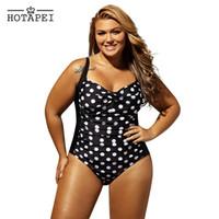 fato de banho polka dot preto venda por atacado-Hotapei Plus Size Swimwear Um Pedaço Preto Branco Polka Dot Maiô Mulheres 2019 Retro Monokini Sexy Biquinis Maiôs Lc41920 Y19062801