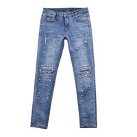 джинсы для девочек оптовых-Wholesale Women High-waist Ripped Stretchy Hole Pencil Pants Jeans Trousers Beading Girls Jeans #0218