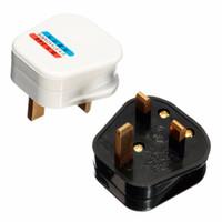 câble de mise à la terre achat en gros de-Blanc Noir Mise à la terre 3 broches 250V UK 13A British Mains Plug 3 broches Adaptateur avec fusible Connecteur de câble POWER Convertisseur de fil UK Plug Electrical Plug