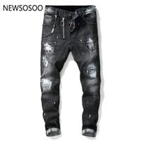 fermuar ince düz kot toptan satış-Avrupa Amerikan Tarzı ünlü marka erkek kot lüks Erkekler düz erkekler için kot pantolon fermuar Patchwork Ince siyah kot