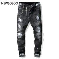 jeans com marca de zíper venda por atacado-Estilo europeu Americano famosa marca mens jeans luxo Homens retas calças jeans com zíper Patchwork Slim jeans preto para homens