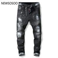 célèbre marque hommes jeans achat en gros de-European American Style célèbre marque mens jeans de luxe hommes droites pantalons en denim zipper Patchwork Slim jeans noirs pour hommes