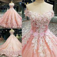 Wholesale plus size flower appliqued dresses resale online - 2020 Luxurious Pink Ball Gown Flower Wedding Dresses Off The Shoulder Lace Appliqued Beads Bridal Wedding Wear Plus Size Abendkleider
