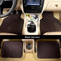 ko großhandel-4pcs / set Universal Car Fußmatten Kunstleder Wasserdicht-Fuss-Auflage Auto Interieur-Accessoires Dekoration