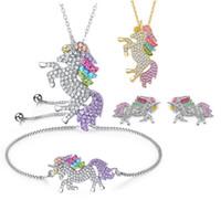 çocuklar için elmas kolye toptan satış-Glitter Rhinestones 925 Gümüş Unicorn Kolye Renk Midilli Elmas Kolye Bilezik Küpe Takı Kadınlar Çocuklar için set Takı