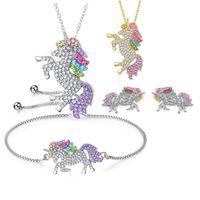 kinder gold ohrringe 18k großhandel-Glitter Strass 925 Silber Einhorn Anhänger Farbe Pony Diamant Halskette Armband Ohrringe Schmuck-Set für Frauen Kinder Schmuck