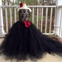 ingrosso fiore rosso pizzo nero-Abiti da spettacolo per ragazze neri eleganti Pizzo Tulle Red 3D Flower Sweep Train 2019 Fashion Wedding Flower Girls Abiti Lace Up Abiti di compleanno