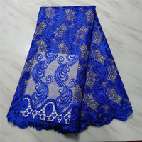 Wholesale african apparel for sale - Group buy 5yards African Lace Fabrics High Quality French Tulle Net Embroidery guipure cord lace For Apparel Sewing in blue white