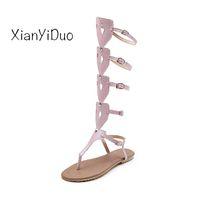 sapatos de verão sandal china venda por atacado-2019 nova moda verão sapatos femininos aberto toe saltos lisos sandálias rio roma rosa branco plus size34-52 produtos baratos china / 1807