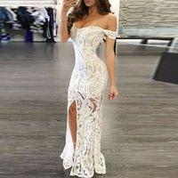 vestido corpo-ombro branco venda por atacado-Mulheres Sexy Off-ombro Bodycon Maxi vestido de festa V profundo branco pescoço Dividir vestido elegante floral