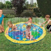 tapis de jeu rembourrés achat en gros de-39inch pad extérieur arroseur gonflable PVC Splash tapis de jeu pad jouet parfait pour les tout-petits enfants piscine jouets MMA1938