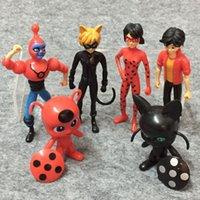 ingrosso figure di signora-6 pz / lotto Miracolosa Coccinella E Gatto Noir Juguetes Toy Doll Lady Bug Adrien Marinette Plagg Tikki Action Figures Regali Juguete