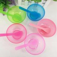 kunststoff gesichtsmaske schönheit groihandel-Kunststoff 2 in 1 Make-up Beauty Mask Bowls 5 Farben, Gesichtsmaske Schüssel DIY Werkzeuge für Gesichtsmasken RRA2274
