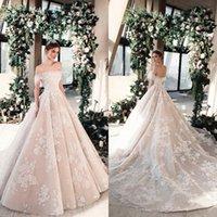 kleider für kleider großhandel-Tony Ward 2019 Brautkleider aus der Schulter Spitze Applizierte Brautkleider A Line Country Style Plus Size Garden Hochzeitskleid