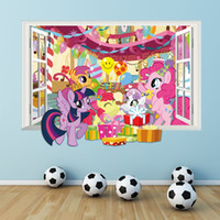 Wholesale 3d window art for wall online - 3d my little horse window wall decals for kids rooms decorative cartoon twilight sparkle wall stickers diy mural art home decor