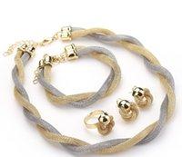 joyería tejida al por mayor-Conjunto de joyas para mujeres Cuentas africanas Conjunto de joyas Boda Twist Weave Gargantilla Collar Nupcial Dubai Conjuntos de joyas etíopes