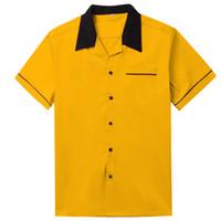eski kaplar toptan satış-Vintage erkek Gömlek Turn-down Yaka Siyah Düğme Sarı Gömlek Erkekler Kısa Kollu Rockabilly Erkekler Giyim Batı Bowling