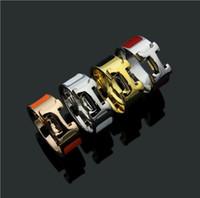 anéis de ouro branco de qualidade venda por atacado-Top Quality marca de Design de Moda de aço inoxidável rosa de ouro prata preto branco orange red rosa anéis de amor do casamento para As Mulheres homens atacado