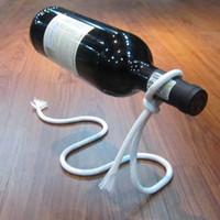 metal şarap şişesi tutacakları toptan satış-Şarap Şişesi Tutucu Kırmızı Şarap Şişesi Için Yüzen Halat Süspansiyon Zinciri Raf zinciri Raf Kayan Drinkware tutucu KKA6890 Standı