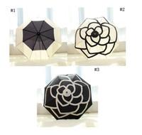 sacs à motifs achat en gros de-Motif classique motif de fleurs de camélia logo parapluie pour femmes avec cadeau boîte et sac pluie parasol parasol pluie parapluie Blooming camélia MMA1702