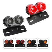 Wholesale integrated led tail lights motorcycle resale online - Universal Motorcycle Dual LED Tail Light Smoked Lens Plastic Integrated Light Turn Signal Brake Light Rear Driving Lamp