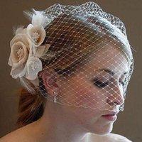 ingrosso velo netto da uccello-Veli da sposa classici Volto da sposa Velo da sposa corto in maglia Velo coperto con pettine
