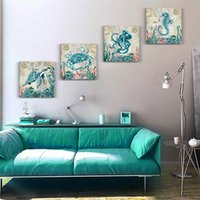 Wholesale sea wall art panels resale online - 4 Panels Wall Art Decor for Kitchen Living Room Canvas Prints Picture Blue Marine Organism Sea Horse Octopus Crab Artwork Office Home Bedroo