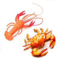 Wholesale ocean toys resale online - Soft plastic Lobser Crabs models styles ocean animals decoration Vinyl toys kids gifts animals model toys