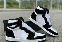 renkli üst üst spor ayakkabılar toptan satış-Yeni Toptan Yüksek OG WMNS Basketbol Ayakkabı 1 1s Panda Renk Erkek Siyah Beyaz Doğa Sporları Sneakers