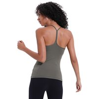 Wholesale outdoor sports bra for sale - Group buy Sexy Backless yoga Tops with Bra LU Solid Colors Women Fashion Outdoor Yoga Tanks Sports Running Gym shirt Clothes