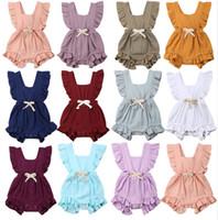 ingrosso jumpsuits solido-Baby Ruffle Pagliaccetto Tinta unita Neonato Indietro Indietro Bow Tute 2019 Estate Boutique di moda per bambini Arrampicata vestiti C6108