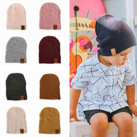 Wholesale outdoor camping caps resale online - Fashion Kids Knit Beanies Hat Causal Baby Winter Warm Solid Color Cap Children Outdoor Travel Camping Hat TTA1507