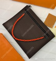 Wholesale zipper led light resale online - Women s real leather canvas handbag Girls embossed leather clutch bag cosmetic bag Leading the fashion trend M44484