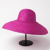 sombreros de paja hechos a mano al por mayor-01905-HH7172 color de paja natural hecho a mano Elegante Hepburn Style lady cubo sombrero mujeres vacaciones elegante banquete gorra