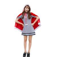 roter prinzessin hut großhandel-Weihnachts-Service Japanischer Nette Weihnachts Set Winter-Cosplay Kleid Red Hat Prinzessin-Schal-Kleid